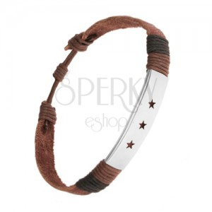Karkötő bőrből, állítható hossz, acél tábla, kivágások - csillagok