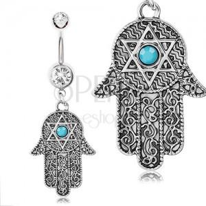 316L acél piercing köldökbe, Fatima keze, ezüst szín, minták