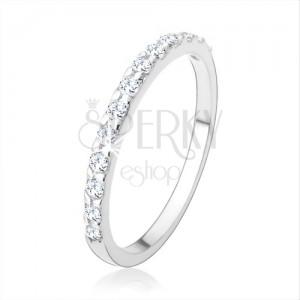 925 ezüst eljegyzési gyűrű, csillogó vonal átlátszó cirkóniákból