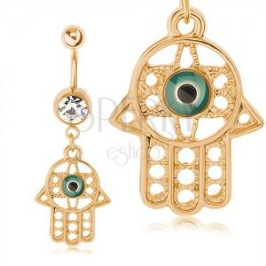 316L acél piercing köldökbe, arany szín, medál - Fatima keze