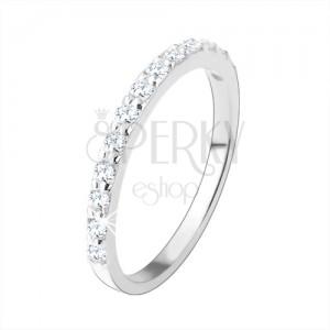 925 ezüst gyűrű, átlátszó cirkóniás vonal, sima szárak, magas fény