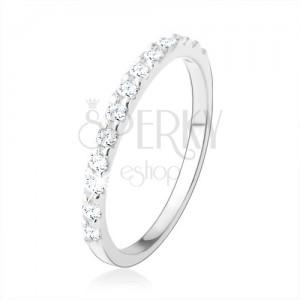 925 ezüst gyűrű, szűk szárak magas fénnyel, átlátszó cirkóniákból álló sáv