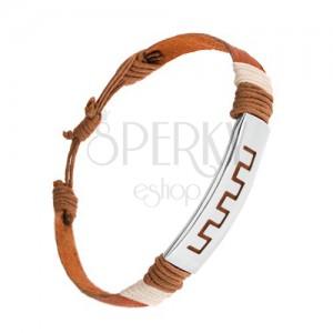Állítható bőr karkötő, fahéjbarna szín, acél tábla, görög kulcs