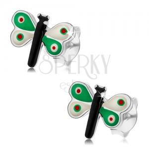 925 ezüst fülbevaló, pillangó színes fénymázzal, zöld-fehér szárnyak
