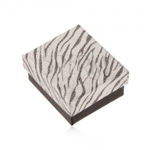 Csillogó doboz fülbevalóra, ezüst és fekete szín, zebra minta