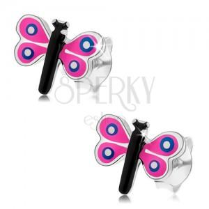 Bedugós fülbevaló 925 ezüstből, színes kicsi pillangó, rózsaszín szárnyak