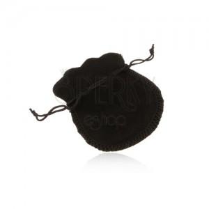 Fekete bársony tasak ajándékra, fekete zsinórok az összehúzáshoz