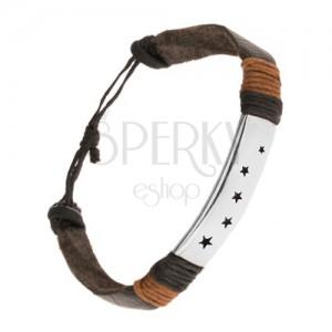 Fekete bőr csuklópánt, hosszúkás tábla acélból, csillag alakú kivágások