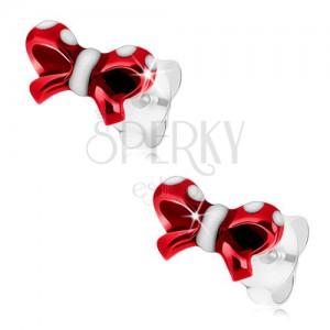 925 ezüst fülbevaló, fényes masni, piros és fehér fénymáz