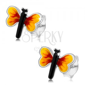 925 ezüst fülbevaló, kicsi pillangó, sárga-piros szárnyak, stekkerek