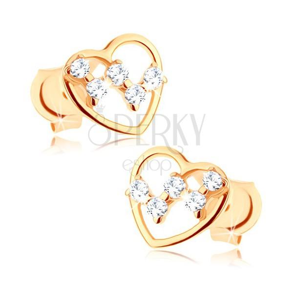 Bedugós fülbevaló 9K aranyból - vékony szív körvonal, átlátszó cirkóniák