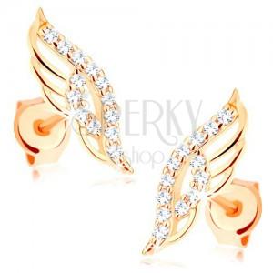 Fülbevaló 9K sárga aranyból - csillogó angyalszárnyak átlátszó cirkóniákkal díszítve