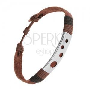 Barna bőr karkötő, acél érem kör alakú kivágásokkal, feltekert zsinórok