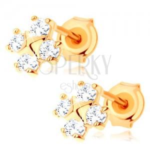 Fülbevaló 9K sárga aranyból - négy, kerek cirkónia, kicsi piramis középen