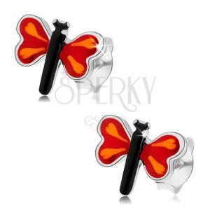 Bedugós fülbevaló 925 ezüstből, színes kicsi pillangó, piros szárnyak