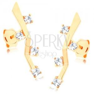 Fülbevaló 9K sárga aranyból - fényes megtört pálcika, négy átlátszó cirkónia