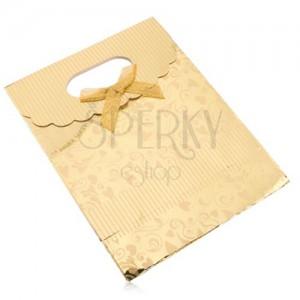 Ajándéktáska papírból, fényes felület arany színben, szívecskék, spirálok, sávok