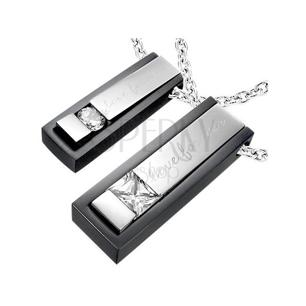 Fekete és ezüst medálok acélból - Love forever