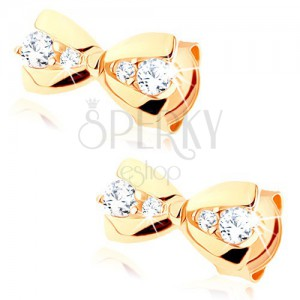 Fülbevaló 9K sárga aranyból - kicsi masni, átlátszó kerek cirkóniák