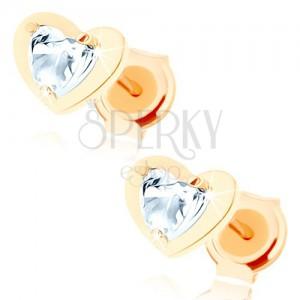 Fülbevaló 9K sárga aranyból - átlátszó cirkóniás szív fényes körvonalban