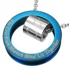 Kék és ezüst acél medál - henger, karika és szerelmi vallomás