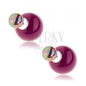 Kétoldalas fülbevaló, 925 ezüst, lila és acélszürke golyó, szivárvány fény