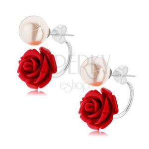 Kétoldalas 925 ezüst fülbevaló, gyöngyházfényű fehér golyó, bordó rózsa