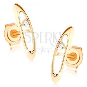 Bedugós fülbevaló 375 aranyból - fényes, ovális kontúr, átlátszó cirkónia