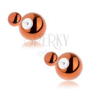 Kétoldalas beszúrós fülbevaló 925 ezstből, golyó bronz színben