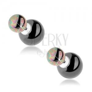 925 ezüst fülbevaló, kétoldalas, acélszürke golyók, szivárvány fény