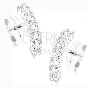 Fülbevaló 9K fehér aranyból - félhold csillogó cirkóniákkal díszítve