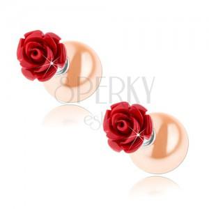 Kétoldalas 925 ezüst fülbevaló, piros rózsa, világosnarancs színű golyó