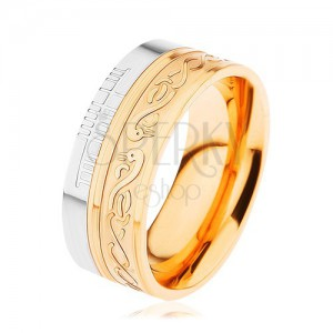 Fényes gyűrű 316L acélból, arany és ezüst szín, spirál, kígyó, bemetszések