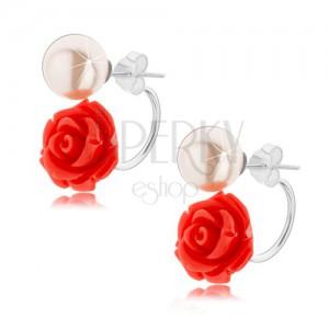 925 ezüst fülbevaló, kétoldalas, világospiros rózsa, fehér golyó