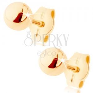 375 arany fülbevaló - kicsi fényes golyó, stekkerek