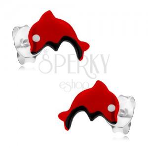 Bedugós 925 ezüst fülbevaló, piros ugró delfin, fénymáz