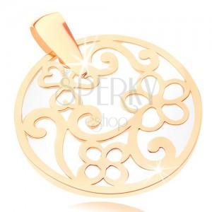 Medál 9K sárga aranyból - kör kontúr mintákkal, gyöngyházfényű alap