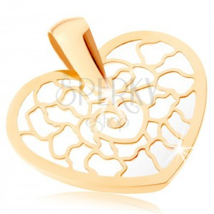 375 arany medál - szív körvonal mintával, gyöngyházfényű alap