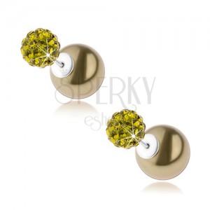 925 ezüst fülbevaló, kétoldalas, sötétzöld golyó, zöld cirkóniák