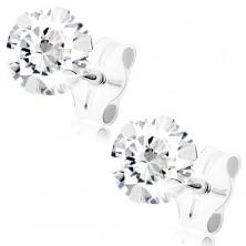 Fülbevaló 9K fehér aranyból - kerek átlátszó cirkónia, 5 mm