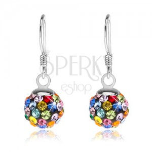 925 ezüst fülbevaló, golyók színes Preciosa kristályokkal, 8 mm