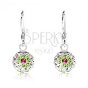 Fehér fülbevaló 925 ezüstből, zöld-rózsaszín virágok, Preciosa kristályok, 8 mm