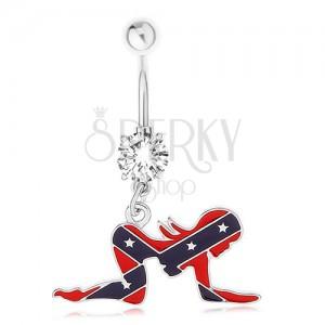Köldökpiercing sebészeti acélból, női sziluett, déli zászló motívum