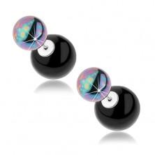Kétoldalas fülbevaló 925 ezüstből, acélszürke és fekete golyó, szivárványfény