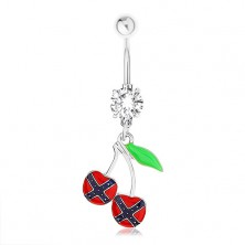 Acél piercing köldökbe, cseresznye, konföderációs zászló, zöld levél