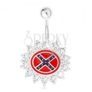 Köldökpiercing 316L acélból, virág cirkóniás kerettel, déli zászló