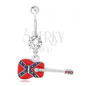 Köldökpiercing sebészeti acélból, gitár konföderációs zászló motívummal