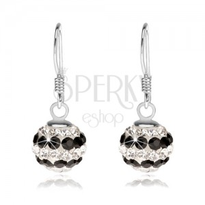 925 ezüst fülbevaló, golyó átlátszó és fekete kristályokkal díszítve, 8 mm