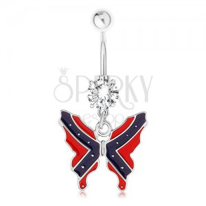 Acél piercing köldökbe - pillangó, konföderációs zászló