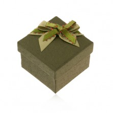 Sötétzöld doboz gyűrűre vagy fülbevalóra, zöld masni